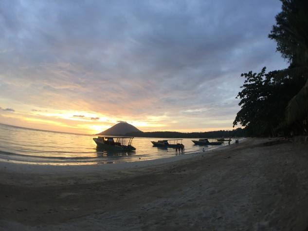 Beautiful sunset shine on volcano.