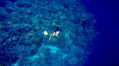 Trying to swim more deep in Bunaken.