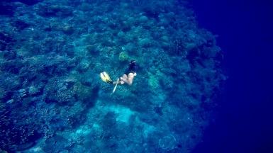 Trying to swim more deep in Bunaken.