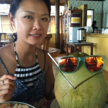 After snorkel in Bunaken's resort.