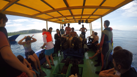 Dive and snorkel guides together hand out. So much fun in special Bunaken.